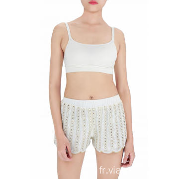 short brodé de sequins blancs