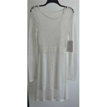 100% Acrílico Laides de manga larga de punto jersey suéter vestido