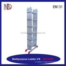 Aluminum folding ladder type steel hinge telescopic multi-purpose ladder with CE/EN131