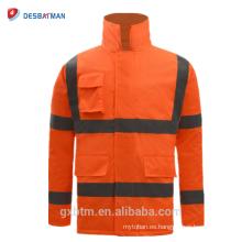 ANSI 107 Reflectante de alta visibilidad Chaqueta de seguridad de invierno Impermeable Hi Vis Workwear Parka Impermeable de color naranja