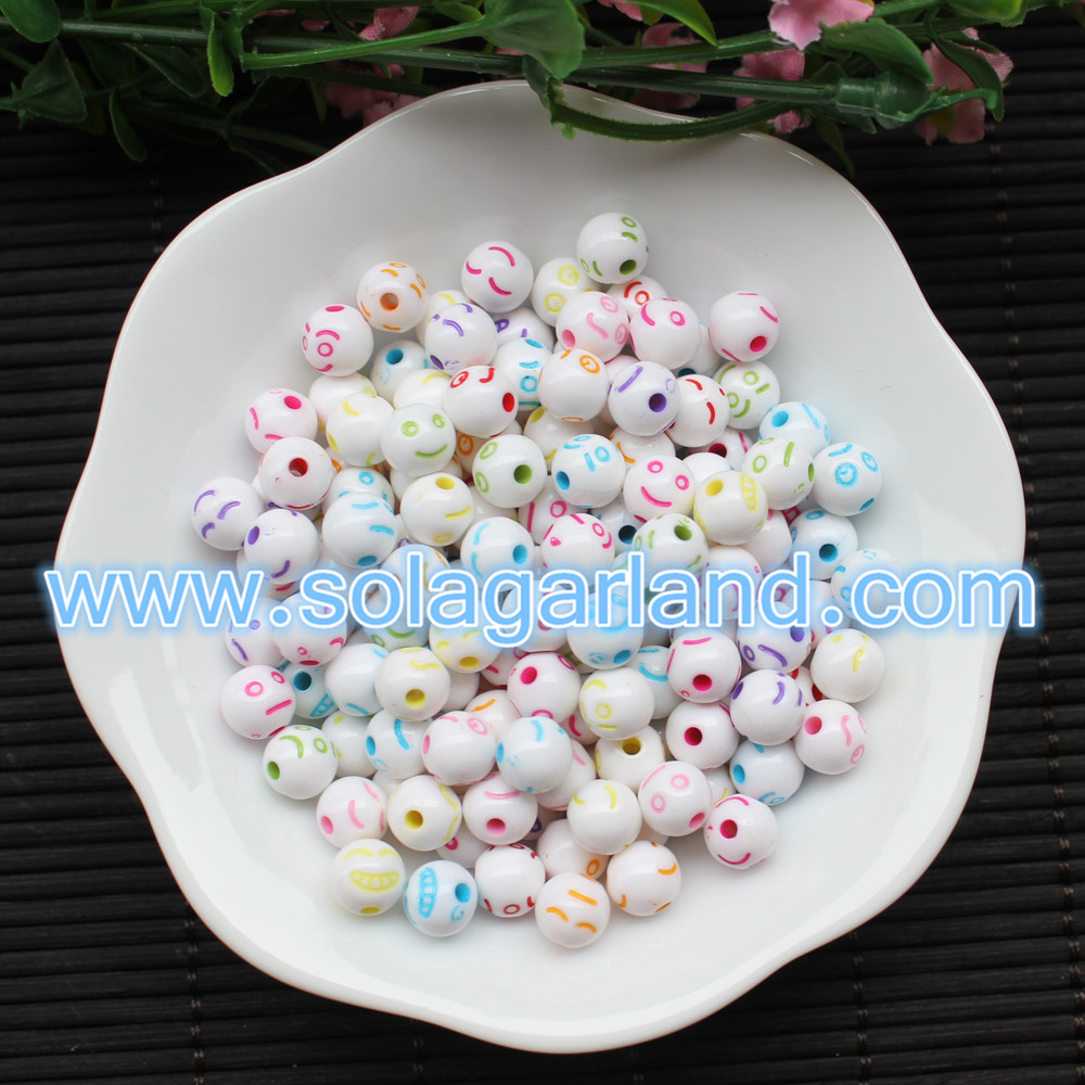 Cartoon Smilling Face Round Beads