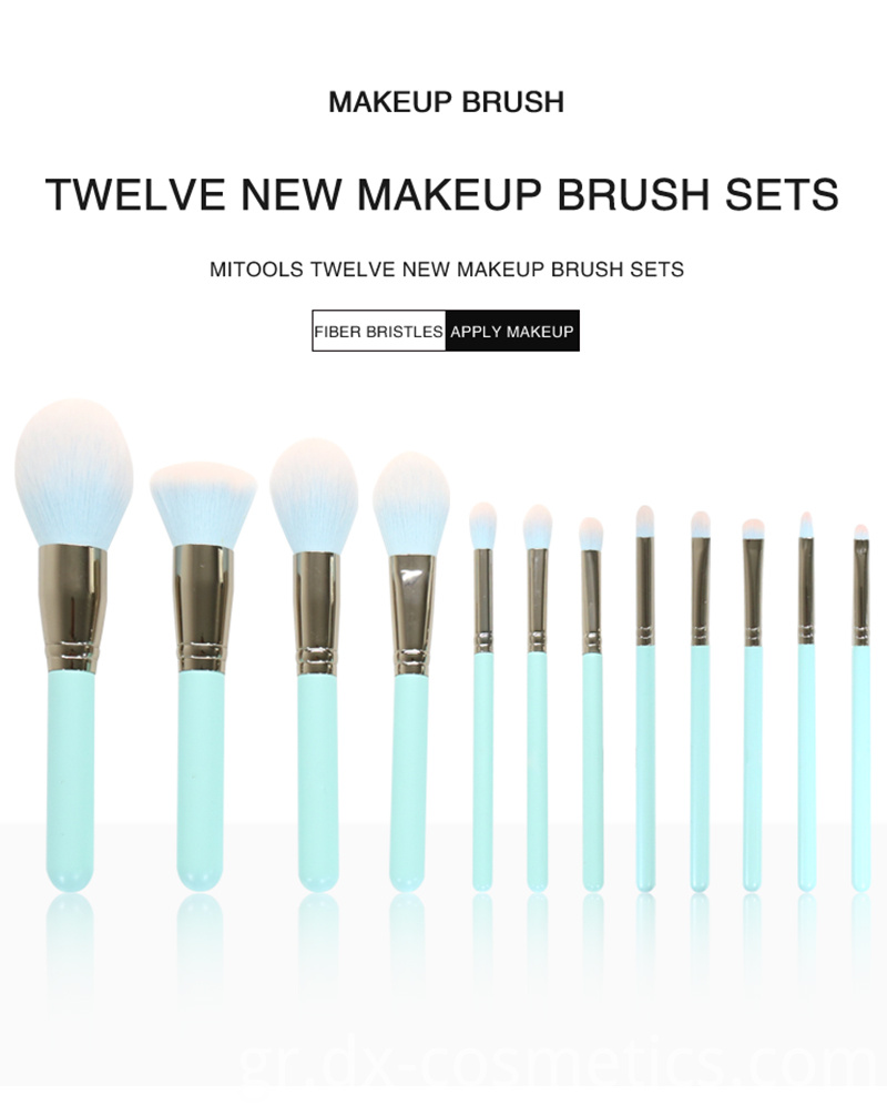 12 Piece Green Makeup Brushes Set 1