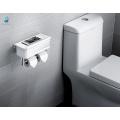 Support multifonctionnel blanc de papier de toilette de petit pain d'ABS de minimalisme avec l'étagère de stockage