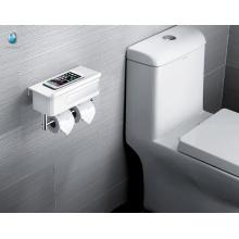Minimalism ABS blanco rollo de papel higiénico titular con estante de almacenamiento