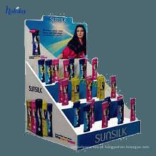 Titular cosmético de travamento da exposição da loja do olho, exposição cosmética da promoção ondulada superior do shopping da venda