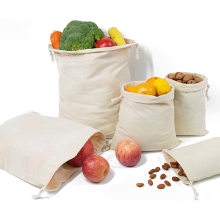 100% Natural Cotton Bags Washable Biodegradable Food Safe Reusable Drawstrings Muslin Bags for Shopping Storage