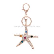 Yiwu Factory Wholesale Full Rhinestone Starfish Keychain