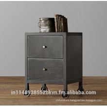 Rolling Corner End Table with Storage