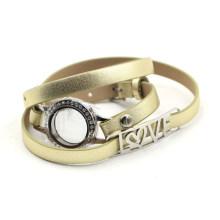 Bracelet Locket avec ceinture en cuir doré pour mémoire