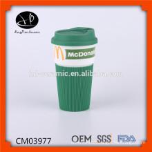 480ml Porcelain Ceramic mug, porcelain mug with silicone wrap, eco mug with photographic print and silicone lid and sleeve