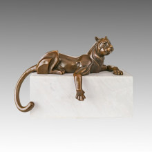 Animal Bronze Sculpture Relaxed Leopard Carving Deco Brass Statue Tpal-465