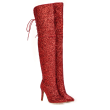 Thigh High Boots Bling Glitter Red Lace Up Pointed Toe Women'S Stiletto Boots Heels Shoes 2020 Design Booties Stilettos Zapatos