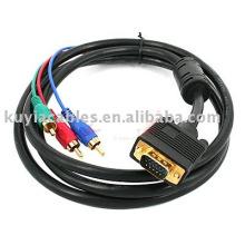 Câble VGA TO 3 RCA CABLE pour ordinateur PC VGA vers TV 3 RCA AV Adapter