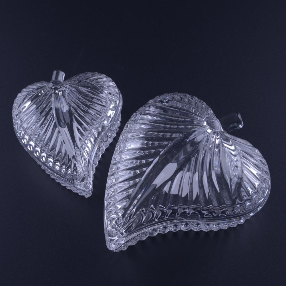 Hand Pressed Leaf Shaped Glass Jewelry Box Jar