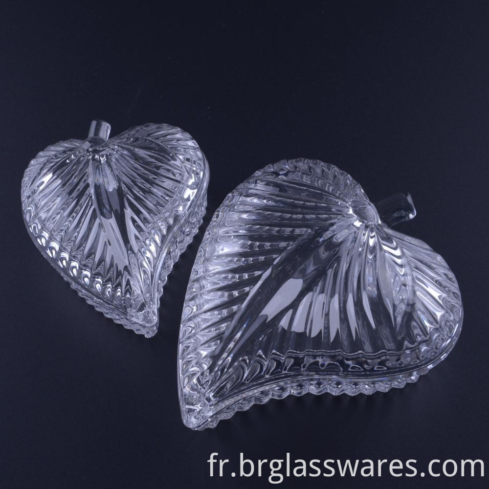 Hand Pressed Leaf Shaped Glass Jewelry Box Jar