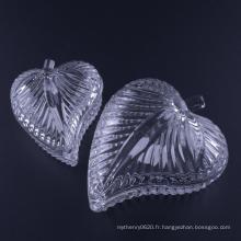 Boîte à bijoux en verre en forme de feuille pressée à la main