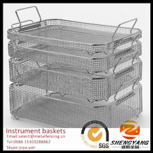 Mesh structure disinfecting baskets stackable sterilization baskets with handle stainless steel instrument baskets for medical
