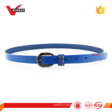 skinny studded cowhide leather belt for women
