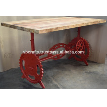 Industrial Crank Dining Table Red Color Base