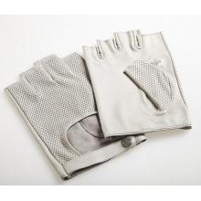 Couro de pele de cabra moda masculina sem dedos luvas de esportes de condução (yky5201-2)