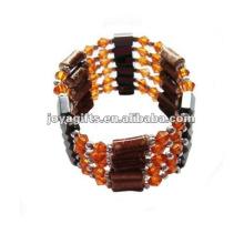 "Magnetic Orange Glass Beads Wrap Bracelets & Collier 36 """