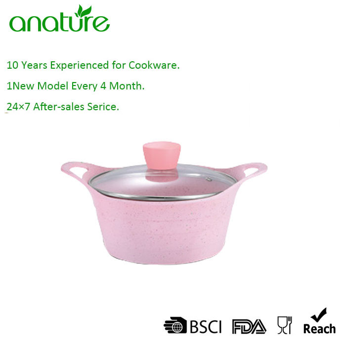 Pink Elegant Non Stick Ceramic Coating Cookware Set