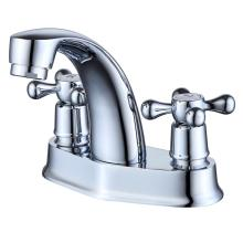 Klasik Perak Chrome Finish Dual Handle Faucet Basin