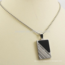 Silver Metal Rectangle Necklace Pendant With Diamond And Black Enamel