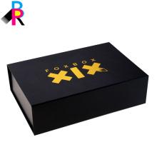 Черный жесткий картонные коробки роскоши упаковывая с магнитом стиль папки