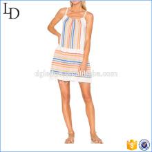 Striping Thailand Großhandel Kleider Kleider mit einem ausgefransten Sommer Rock