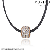 43812 Thick ring pave colorful zircon pendant leather necklace fashion women leather choker
