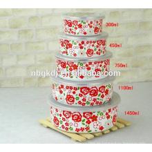 diseño de flores completas esmalte planus bowl de hielo y tazón de helado