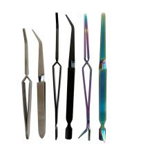 German Market Precise Stainless Steel Cross hatch grip tweezer Black Weld Tweezer