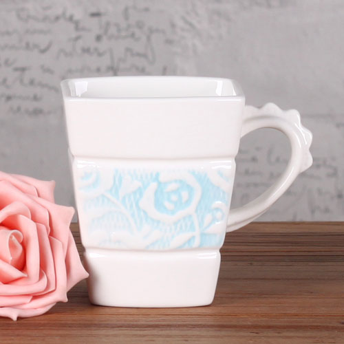 square rose coffee mug with rose spoon