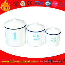 White Color+Blue/Black Rim Enamel Mug Canister