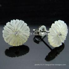925 Boucles d'oreilles en érable en étain doux en argent sterling avec pendentif en érable