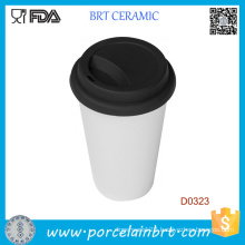 White Double Wall Customized Logo Ceramic Trave Mug with Silicone Lid