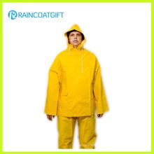 2PCS Yellow PVC Polyester Rain Suit Rpp-039