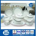 Последний китайский продукт Королевская новая кость роскошная керамическая посуда 141PCS Блюда с золотым ободком