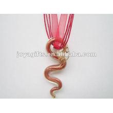 Regalo afortunado Collar de cristal de Lampwork Collar de cristal de Lampwork Collar de cristal de murano de Murano con cuerda de cera