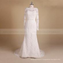 Romantic Long Sleeve Scoop Neck Mermaid Delicate Beads & Lace Wedding Dress