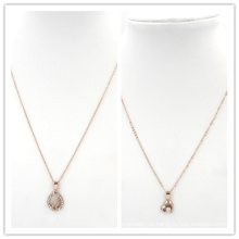 Розовое золото Сердце камни Подвеска из нержавеющей стали ювелирные изделия ожерелье