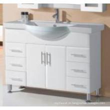 Vaidade de madeira branca lustrosa moderna do banheiro do MDF dos mercadorias sanitários modernos (P192-1200W)