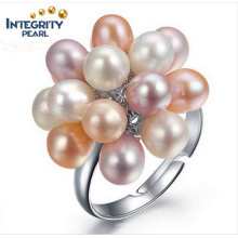 Fashion Grape 3-4mm AAA Drop Adjustable Pearl Pearl Pearl Ring