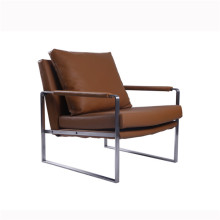 Chaises longues modernes en cuir d'acier inoxydable de Zara