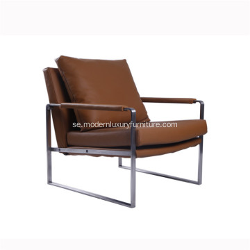 Moderna Zara Stainless Steel Leather Chaise Lounge Stolar