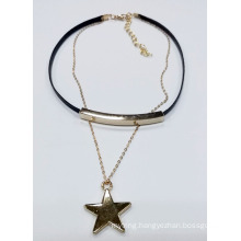Double Chains Necklace Choker with Tude and Star Charms
