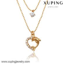 43053-Xuping deux couches collier de forme de coeur brillant bijoux perlés pour les femmes