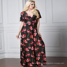 Fashion printed floral Premium Qualität Polyester lange ärmellose Casual Frau Maxikleid