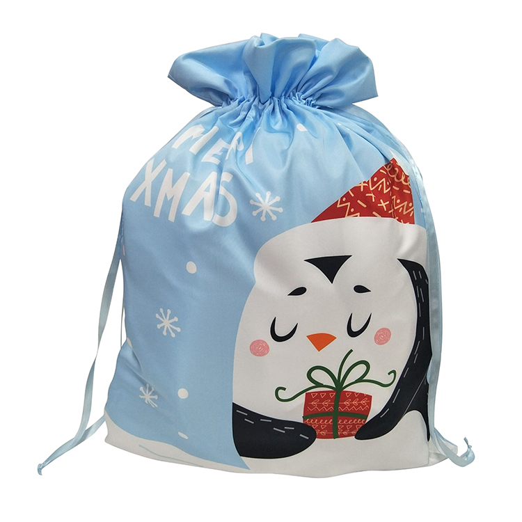 Christmas Penguin Pattern Drawstring Bag